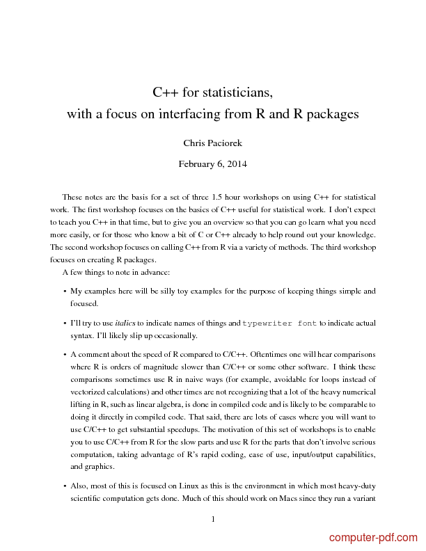 Tutorial C++ for statisticians
