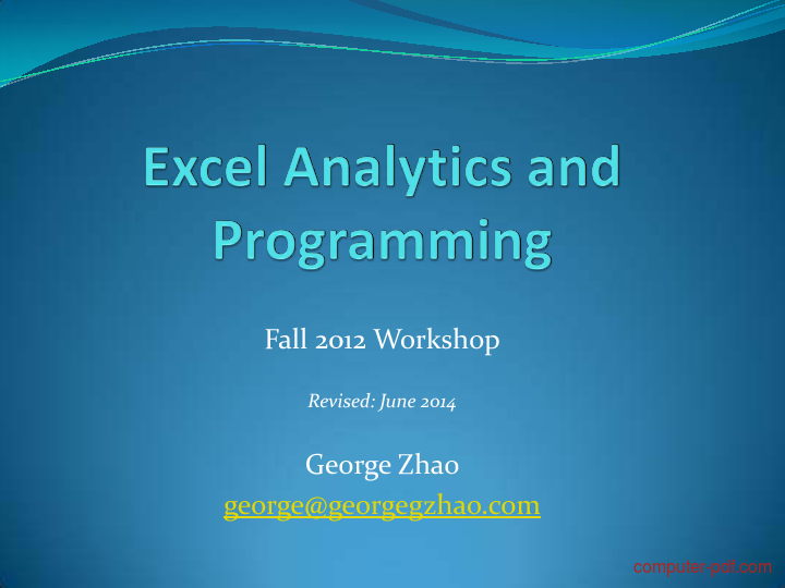 Tutorial Excel Analytics and Programming 1