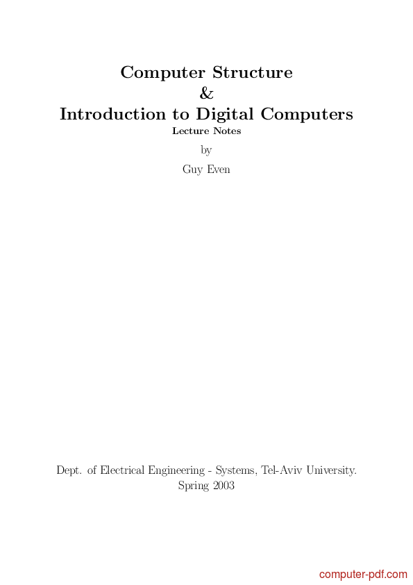 Tutorial Introduction to Digital Computers 1