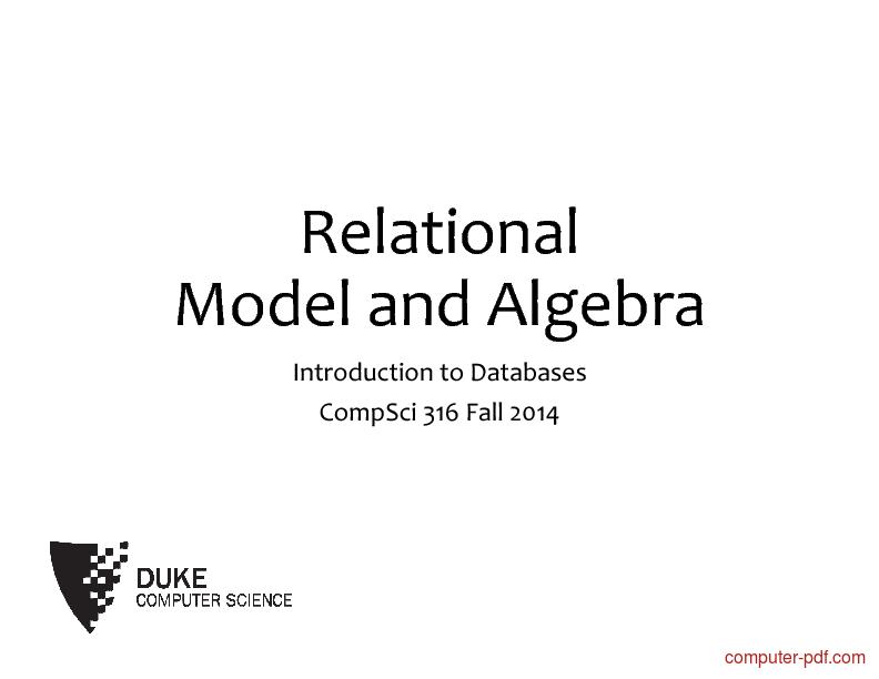 Tutorial Relational Model and Algebra 1