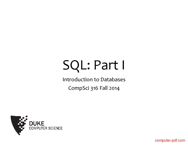 Tutorial SQL: Part I 1