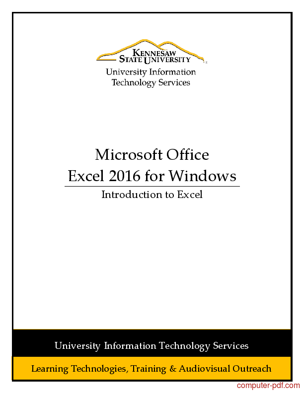 Tutorial Introduction to Excel 2016