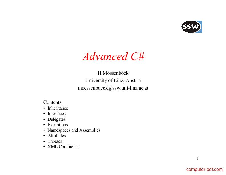 Tutorial Advanced CSharp (C#) 1