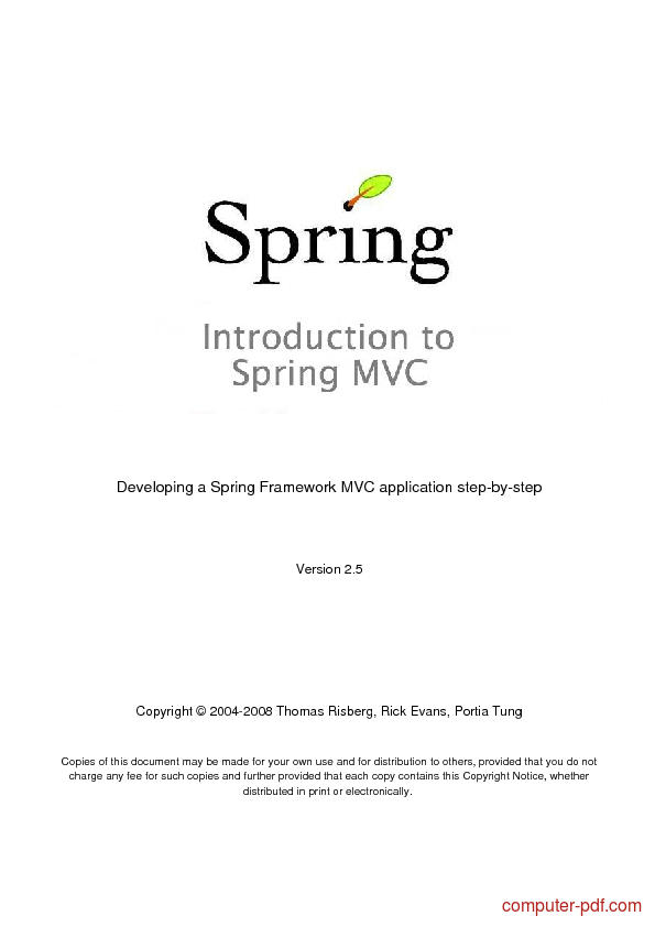 Spring mvc tutorial pdf free download
