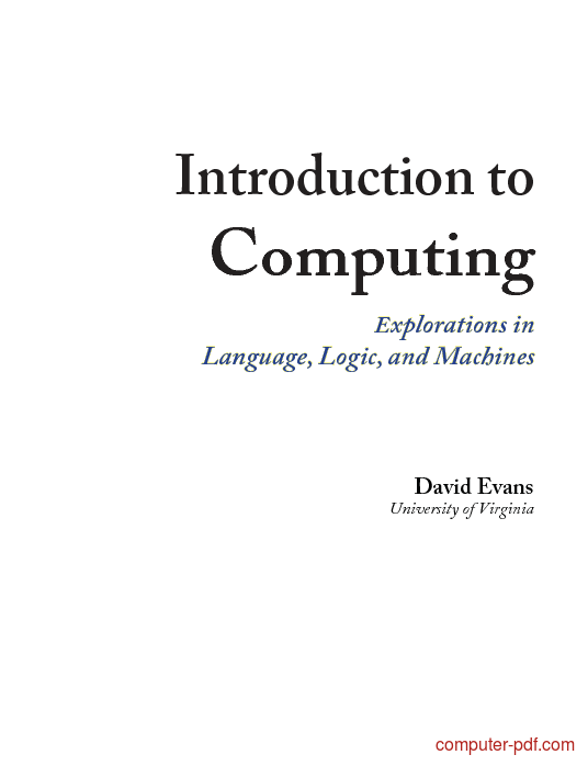 Tutorial Introduction to Computing 1