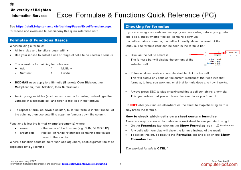 Tutorial Excel Formula & Functions Quick Reference 1
