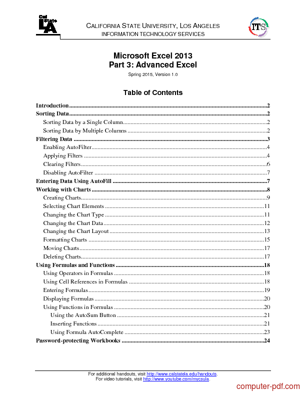 Tutorial Microsoft Excel 2013 Part 3: Advanced