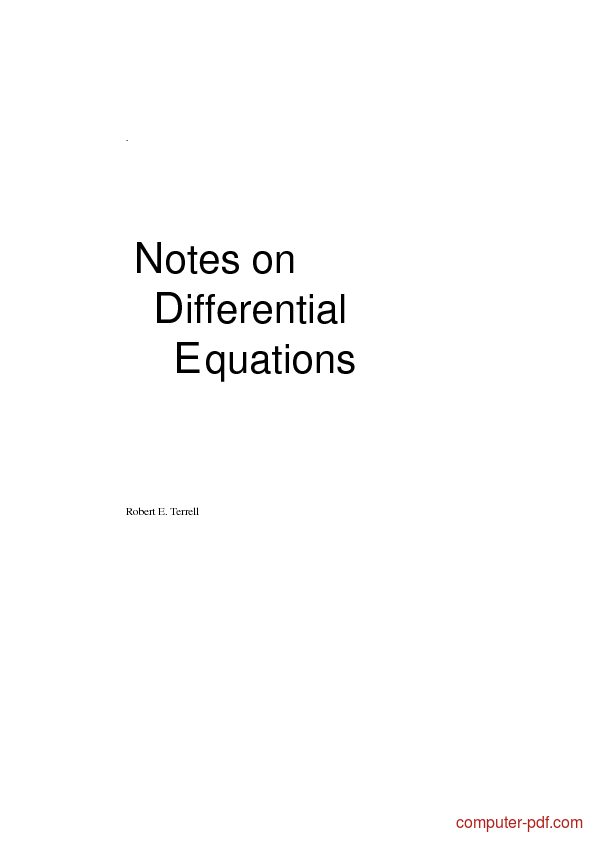 Tutorial Notes on Differential Equations