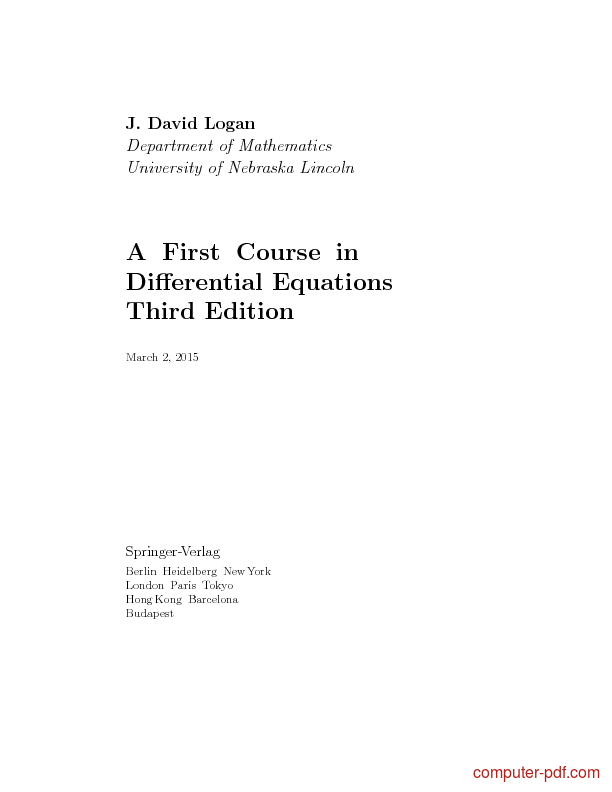 Tutorial A First Course in Differential Equations 1