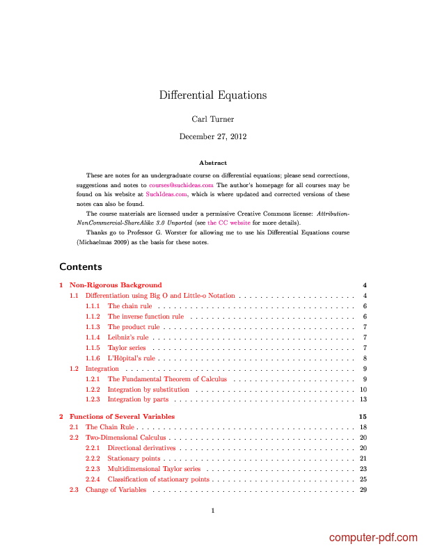 Tutorial Differential Equations