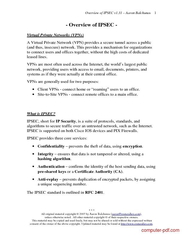 Tutorial Overview of IPSEC 1