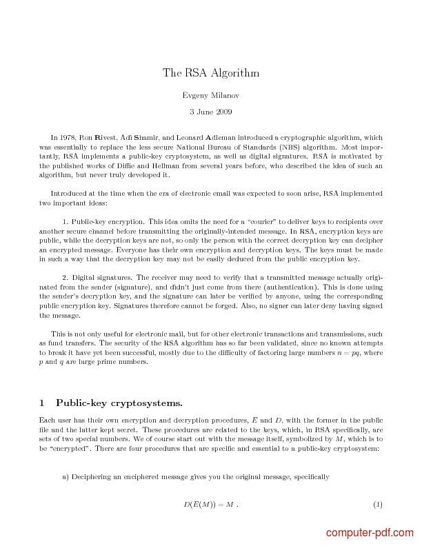 Tutorial The RSA Algorithm 1