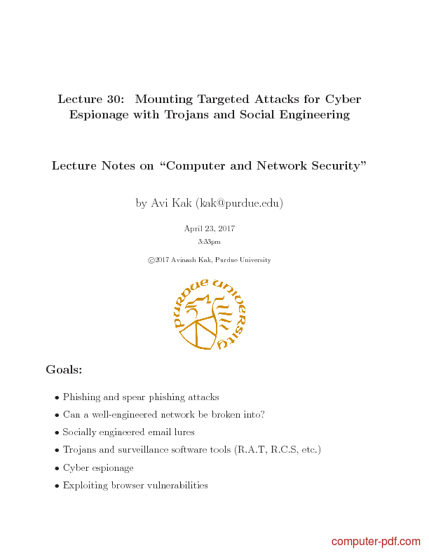 Tutorial Mounting Targeted Attacks for Cyber Espionage with Trojans and Social Engineering 1