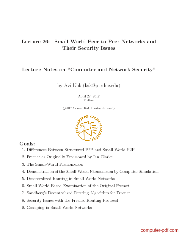 Tutorial Small-World Peer-to-Peer Networks and Their Security Issues 1