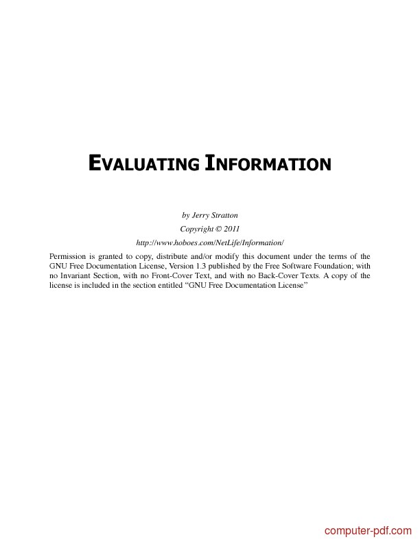 Tutorial Evaluating Information 1