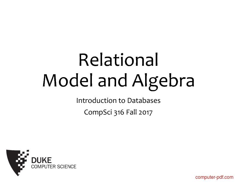 Tutorial Databases Relational Model and Algebra