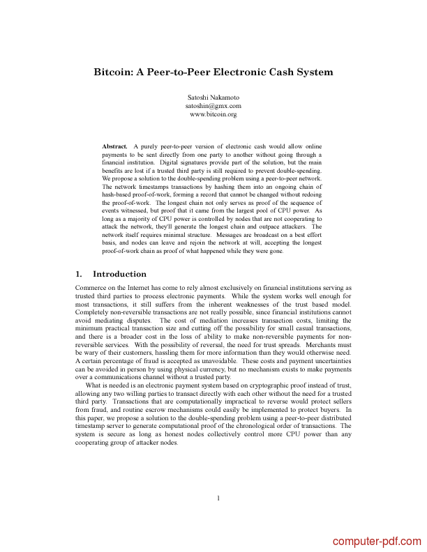 Tutorial Bitcoin: A Peer-to-Peer Electronic Cash System
